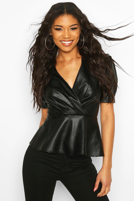 Womens Wrap Pu Top - black - 10, Black - Boohoo.com