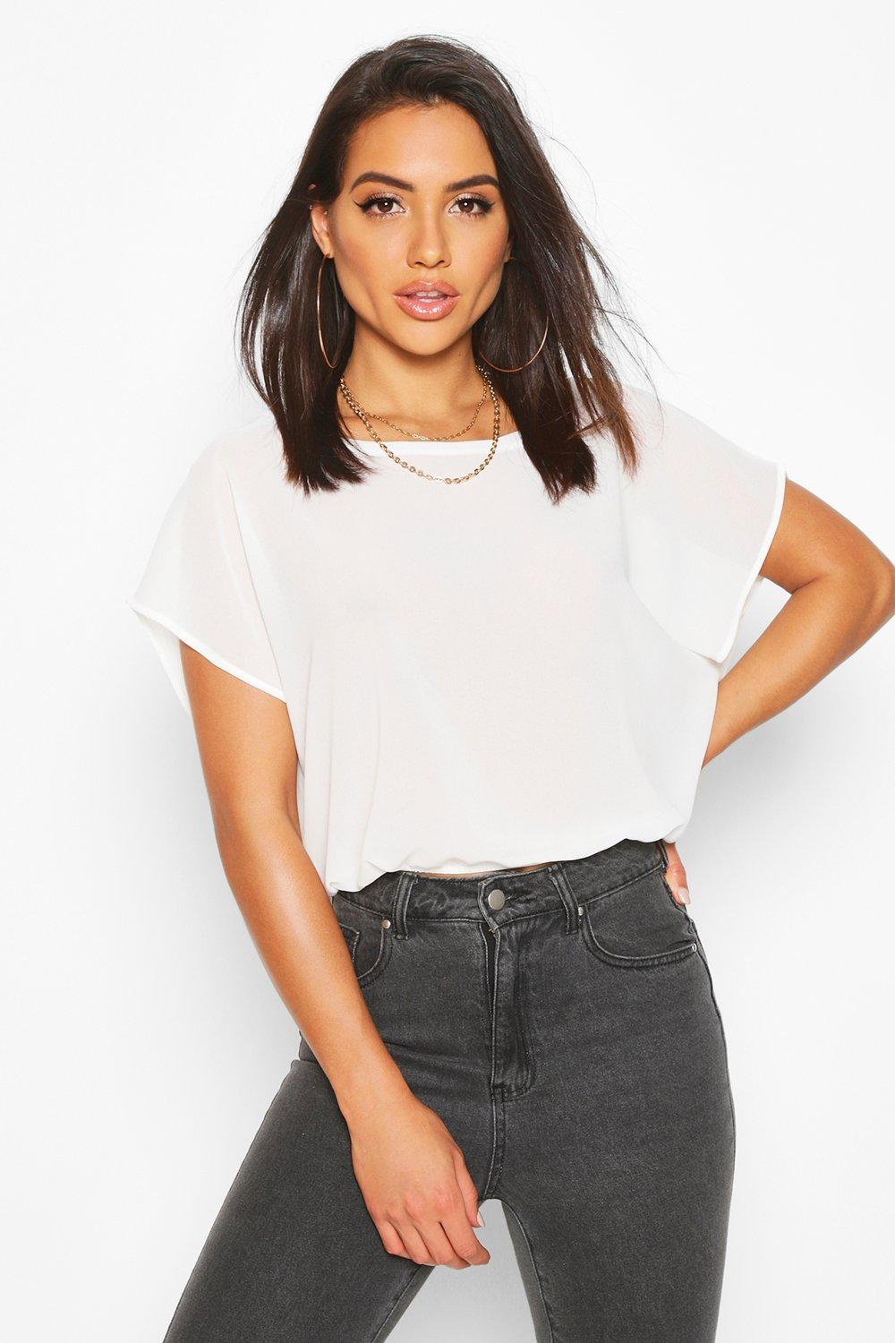 Womens Woven Batwing Shell Top - ivory - 34, Ivory - Boohoo.com