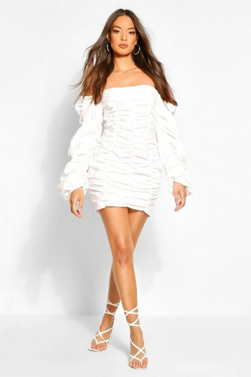 White Off The Shoulder Ruched Mini Dress