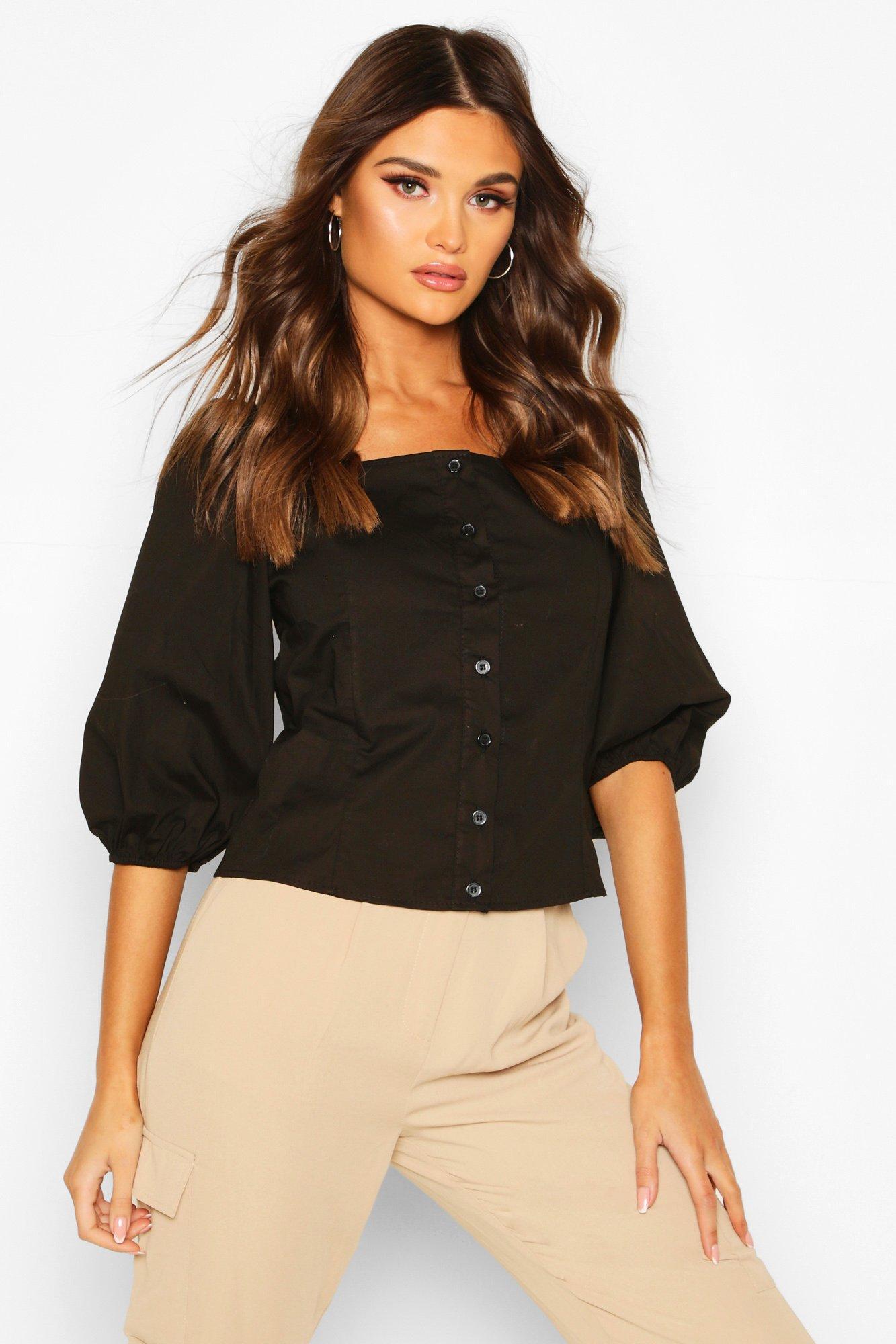 Womens Square Neck Puff Sleeve Blouse - black - 32, Black - Boohoo.com