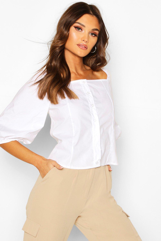 Womens Square Neck Puff Sleeve Blouse - white - 34, White - Boohoo.com