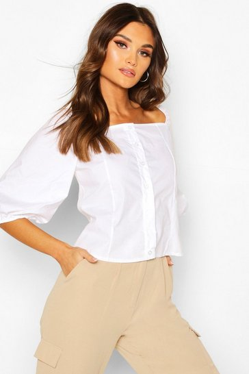White Square Neck Puff Sleeve Blouse