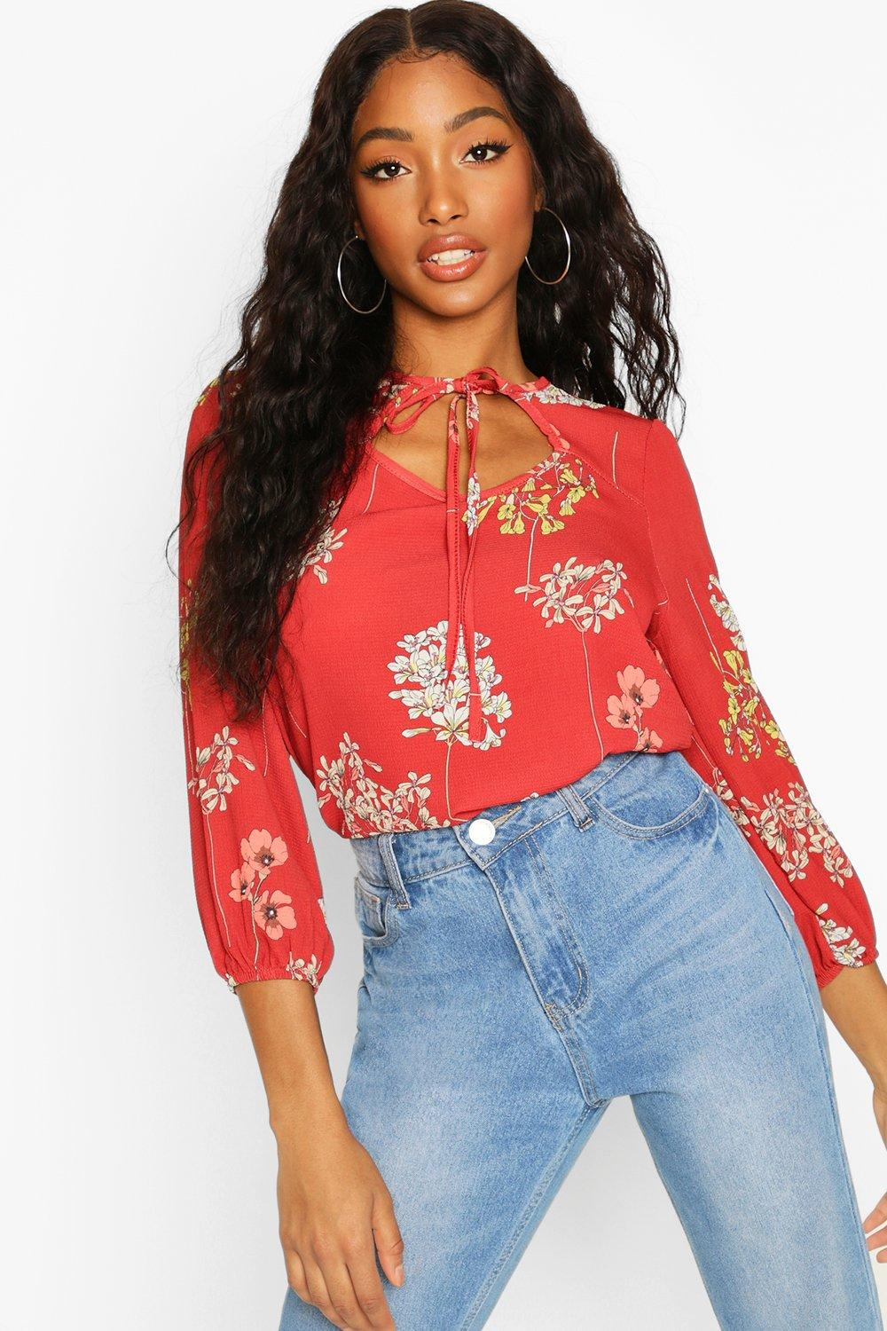 Womens Floral Tie Front Blouse - rust - 36, Rust - Boohoo.com