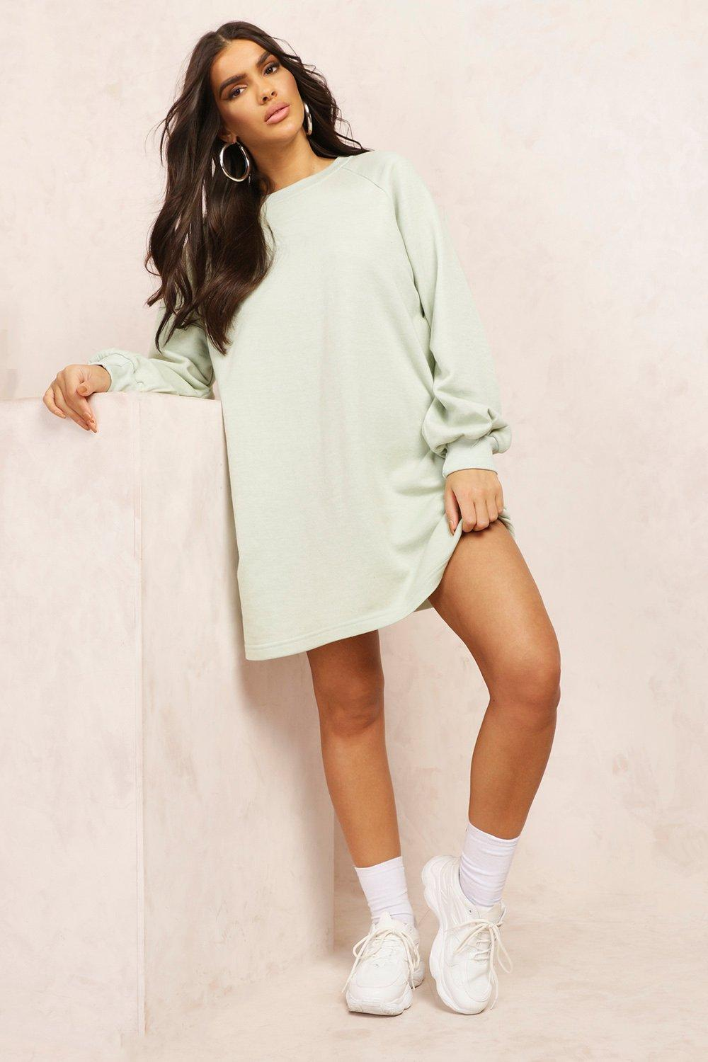 boohoo Womens Mix & Match Edition Oversized Sweat Dress - Green - M, Green