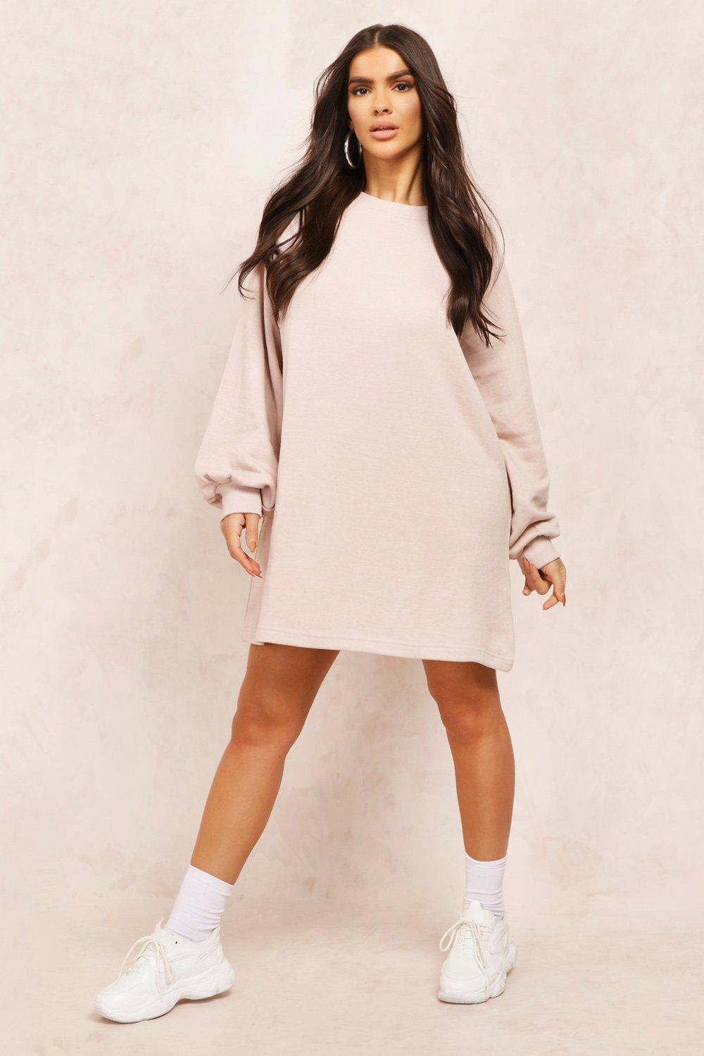 boohoo Womens Mix & Match Edition Oversized Sweat Dress - Beige - M, Beige