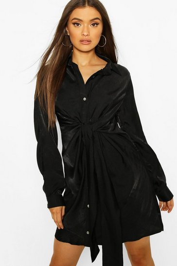 Black Tie Detail Shirt Dress
