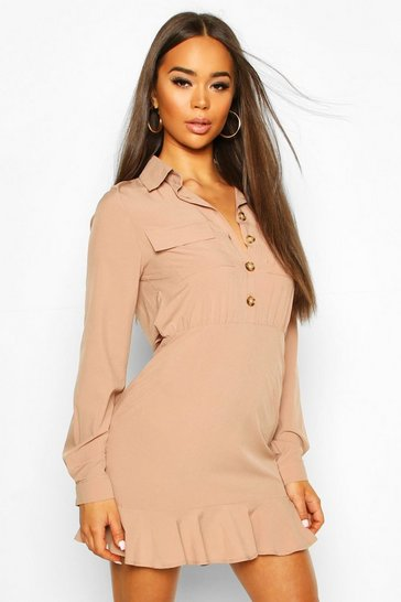 Taupe Frill Hem Button Shirt Dress