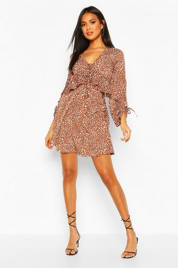 Chocolate Dalmation Spot Ruffle Smock Dress