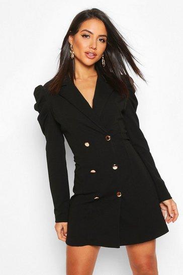 Black Puff Sleeve Button Blazer Dress