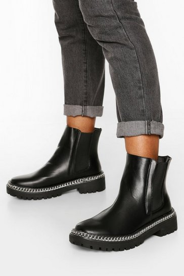 Black Wide Fit Chain Detail Chunky Chelsea Boots