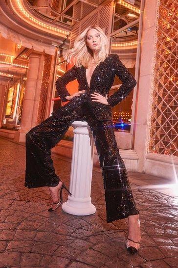 Black Sequin Tailored Suit Trouser