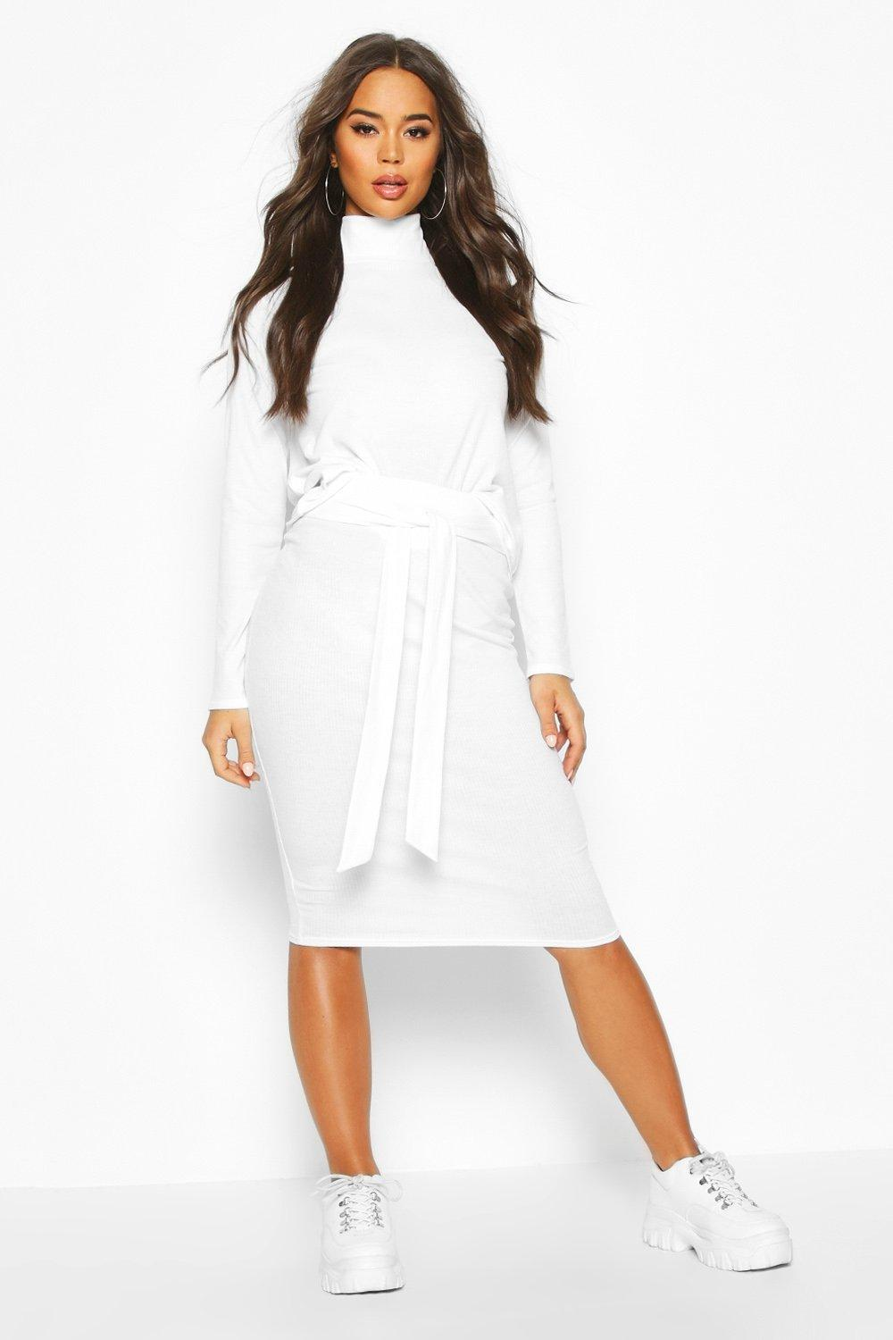 boohoo Soft Rib High Neck Top And Tie Waist Midi Skirt Co-Ord - Cream - 6, Cream