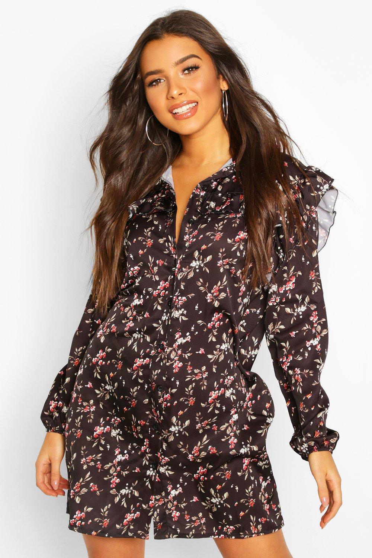 Don't Miss Out Floral Print Ruffle Detail Shirt Dress