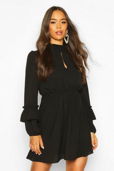 Black Shirred Neck Skater Dress
