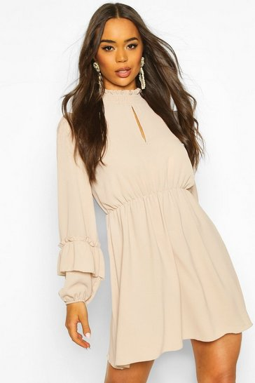 Stone Shirred Neck Skater Dress