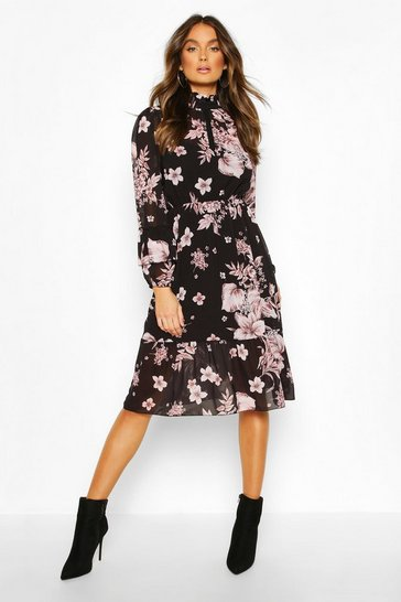 Black Floral Print Ruffle Neck Midi Dress