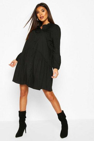Ruffle Neck Shirt Smock Dress