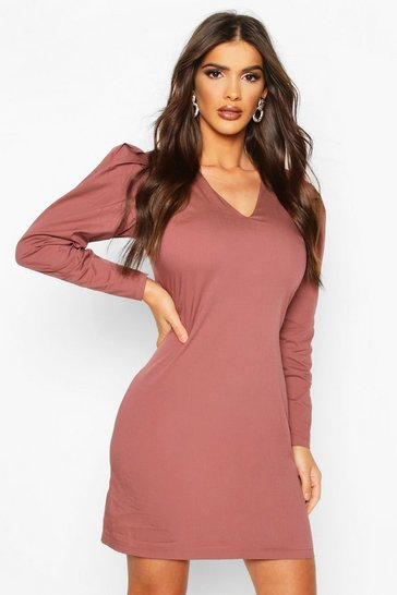 Rose Woven V-Neck Puff Sleeve Mini Dress