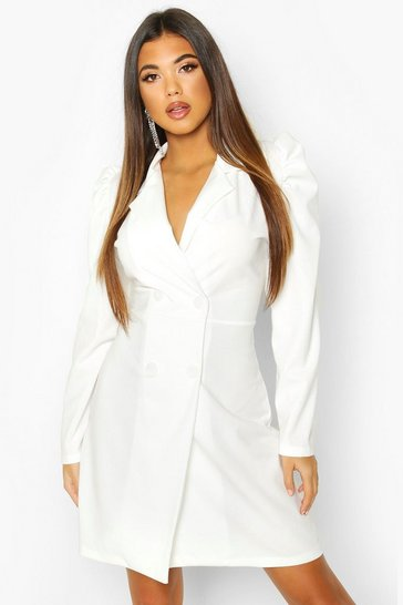 Ivory Puff Shoulder Double Breasted Blazer Dress