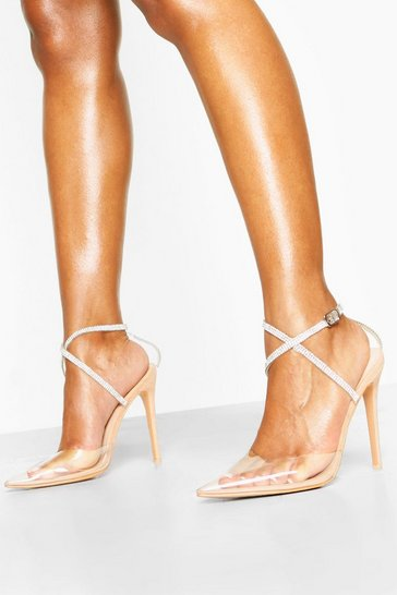 Nude Embellished Ankle Strap Clear Courts