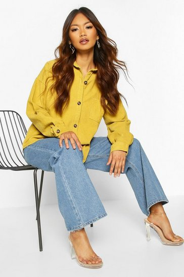 Mustard Oversized Mock Horn Button Cord Shirt