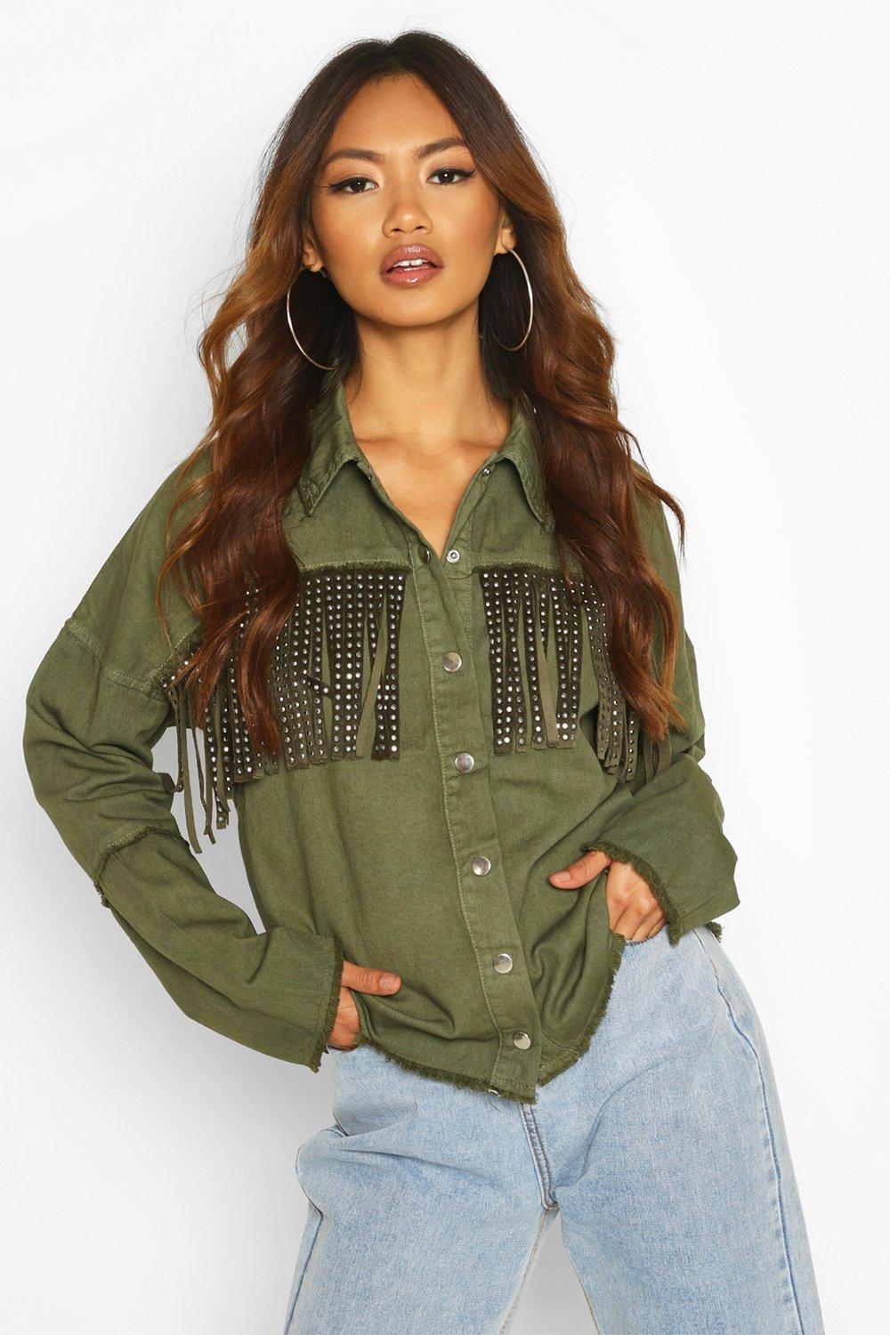 boohoo Womens Studded Tassell Front Denim Shirt Jacket - Green - 12, Green