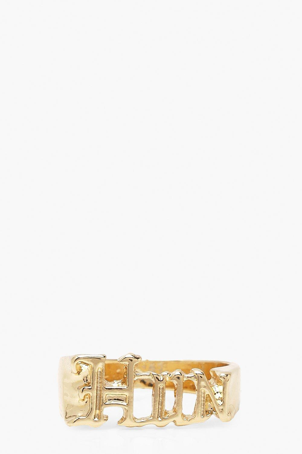 boohoo Womens Hun Slogan Ring - Metallics - One Size, Metallics