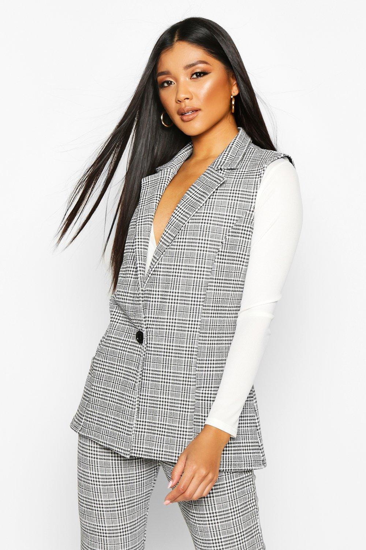 Sale Coats & Jackets Check Longline Sleeveless Blazer With Button