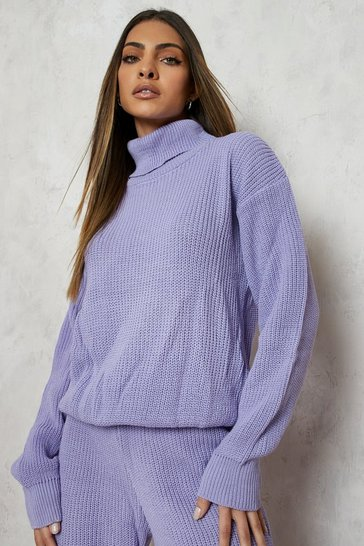 Lilac Turtle Neck Knitted Jogger Lounge Set
