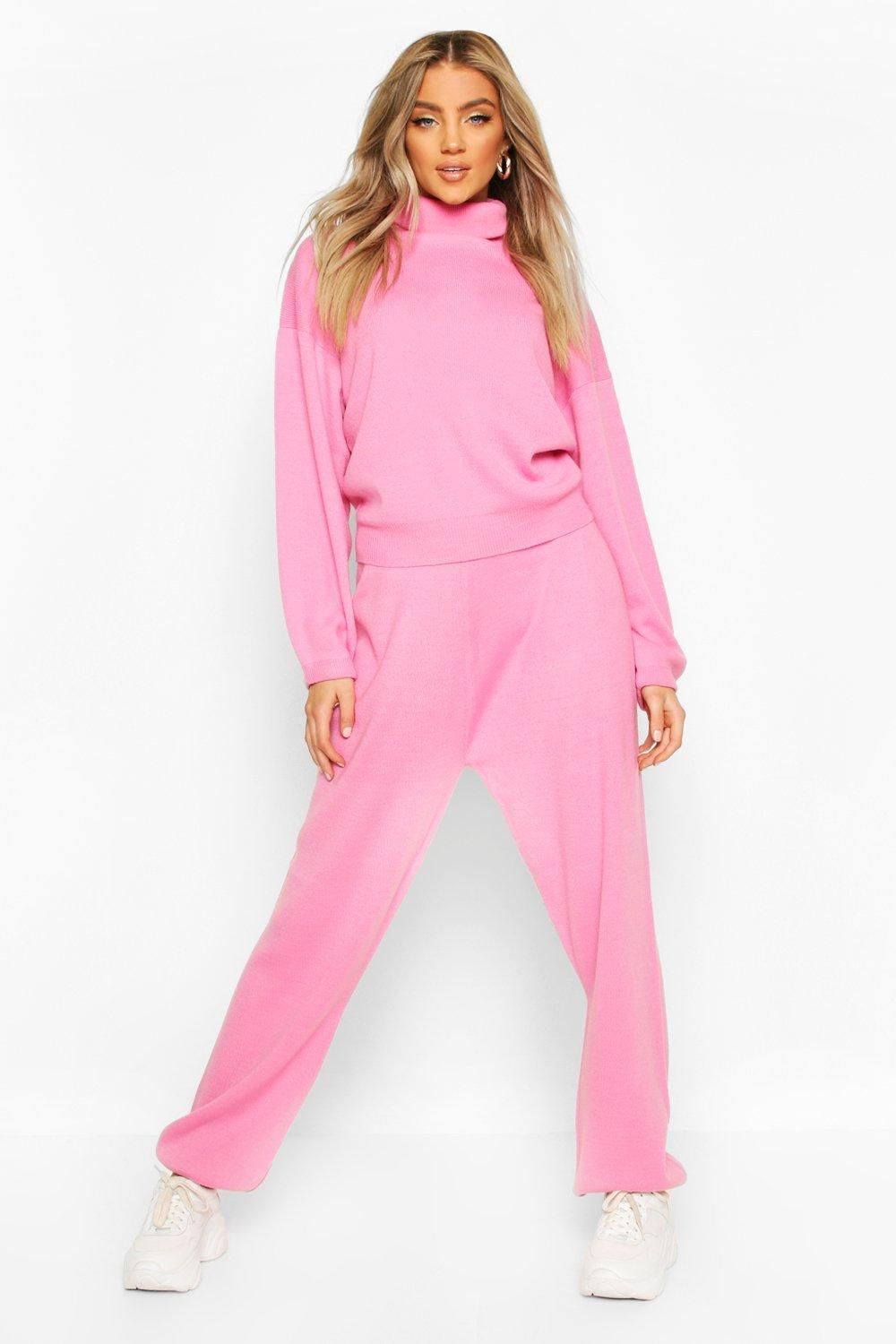 Womens Oversized Roll Neck Lounge Set - baby pink - S, Baby Pink - Boohoo.com