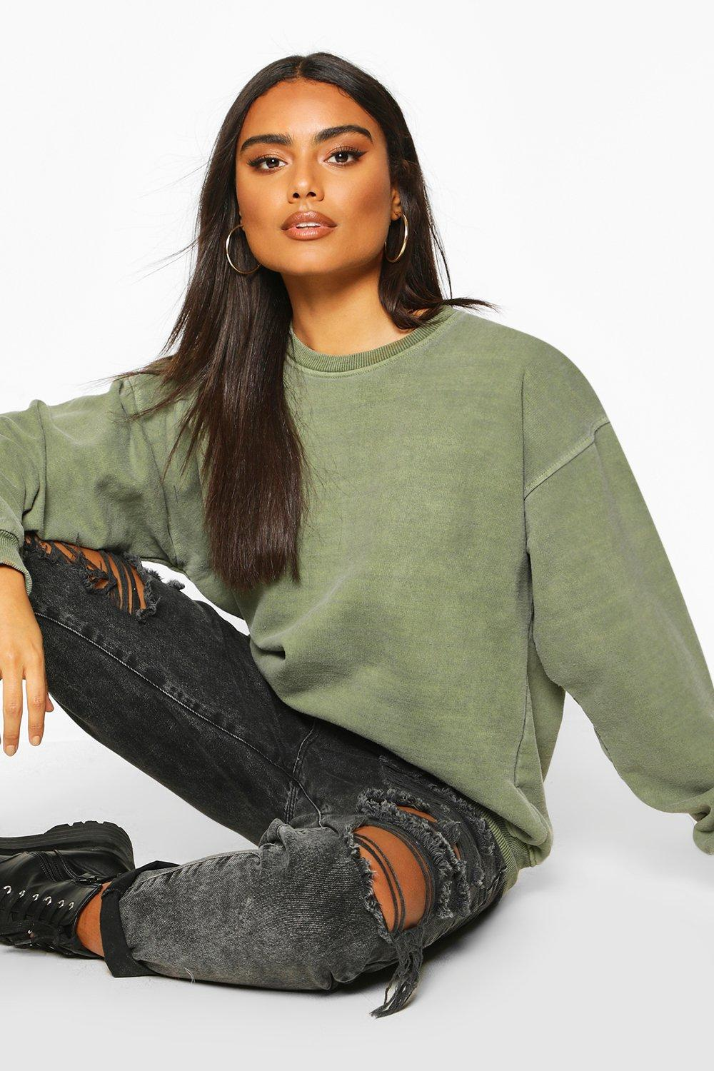 boohoo Womens Washed Oversized Sweat - Green - S, Green