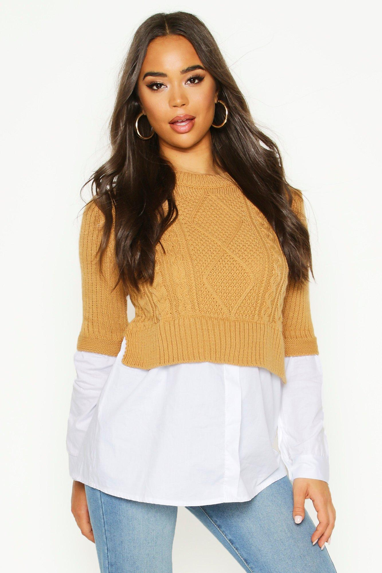 Womens Cable Knit 2 In 1 Top - stone - S/M, Stone - Boohoo.com