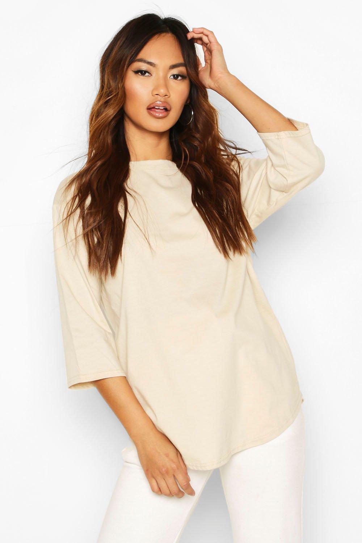 Womens Curve Hem Overszied T-Shirt - stone - 32, Stone - Boohoo.com