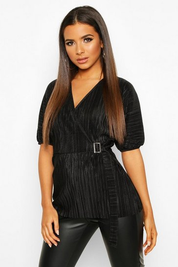 Black Pleated Wrap Front Tie Waist Top