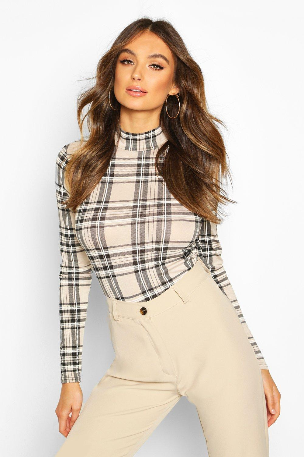 SALE Check High Neck Long Sleeve Top