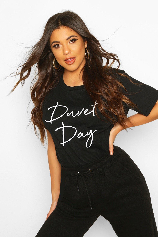 Womens Duvet Day Slogan T-Shirt - black - XL, Black - Boohoo.com