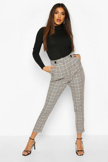 Sand Tonal Check Slim Fit Trousers