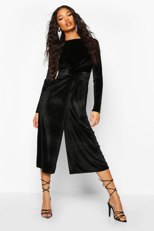 boohoo Womens Velvet Knot Front Cullotte Jumpsuit - Black - 16, Black