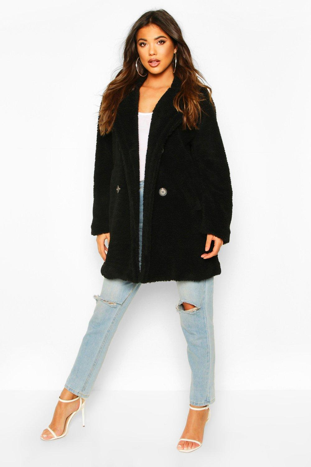 boohoo Womens Faux Fur Double Breasted Coat - Black - 12, Black
