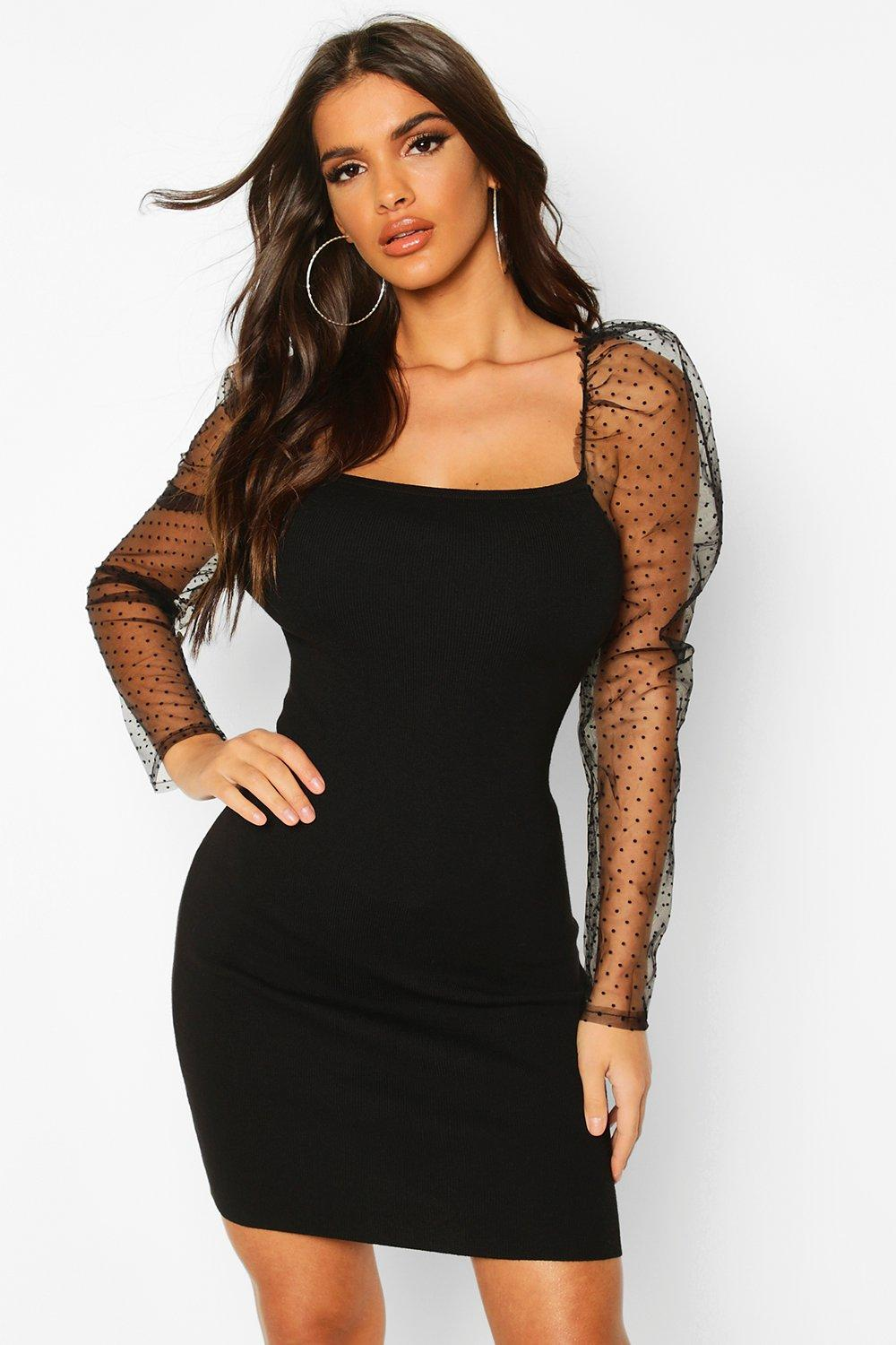 Womens Polka Dot Mesh Puff Sleeve Jumper Dress - black - S, Black - Boohoo.com