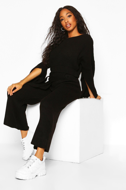 Womens Knitted Trouser & Jumper Co-ord - black - S, Black - Boohoo.com