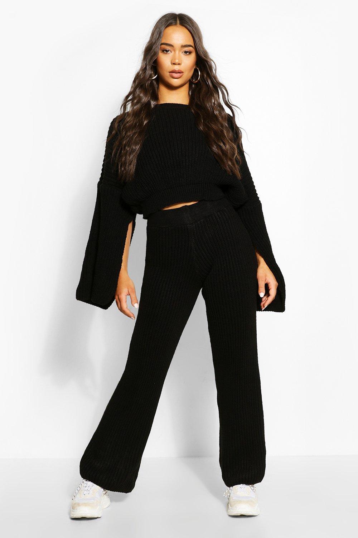 Womens Chunky Rib Knit Wide Leg Lounge Set - black - S/M, Black - Boohoo.com