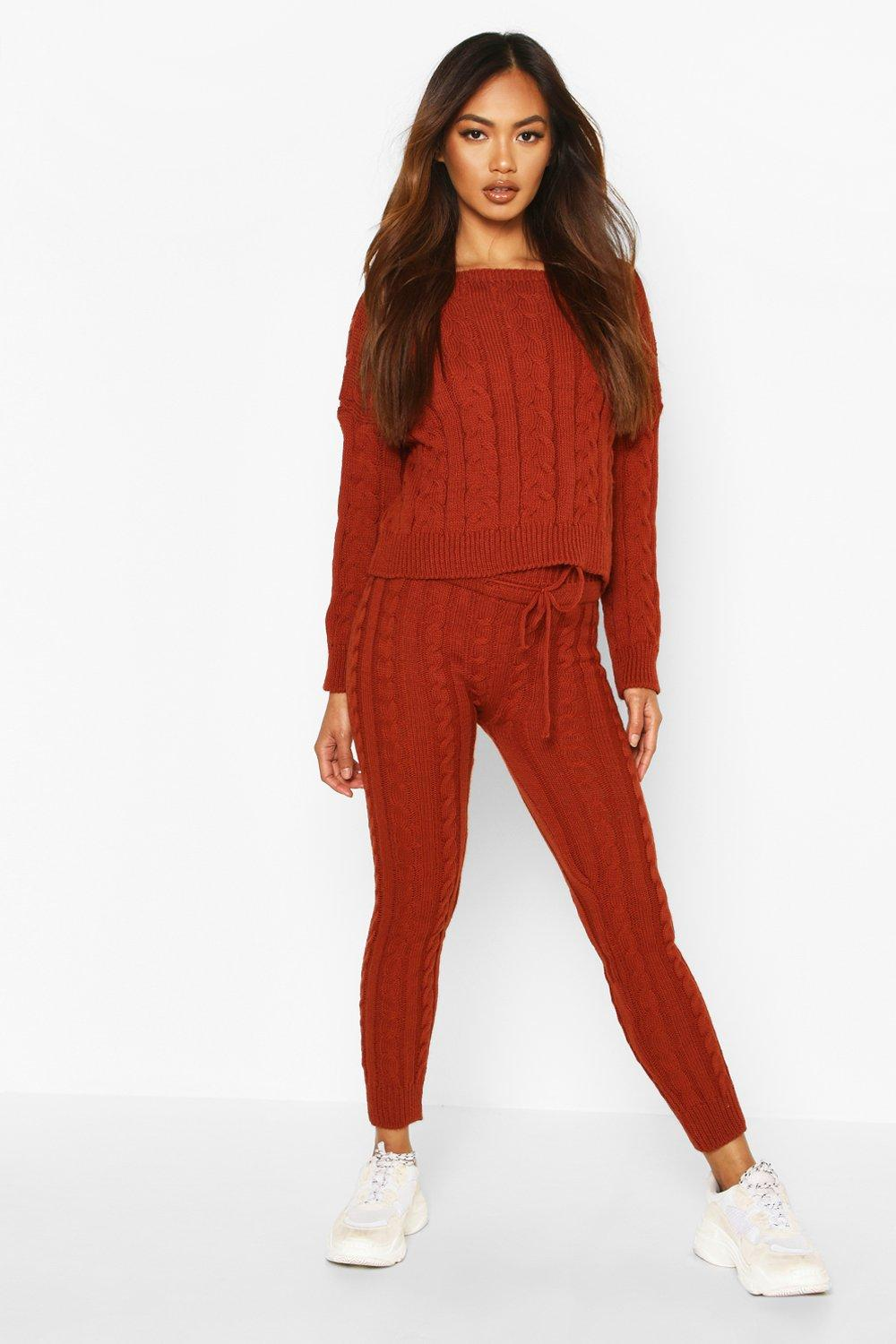 Womens Cable Knit Crew Neck Lounge Set - rust - S/M, Rust - Boohoo.com