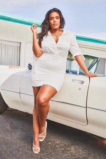 White Plus Satin Tie Sleeve Shirred Shirt Dress