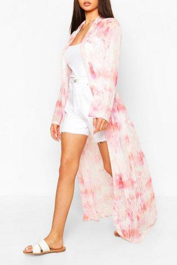 White Plus Tie Dye Mesh Maxi Kimono