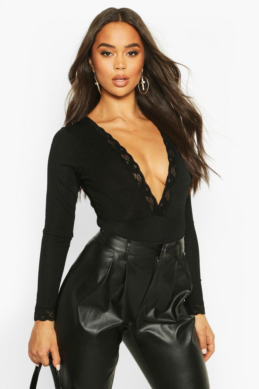 Womens Deep V Lace Trim Long Sleeve Slinky Rib Body - black - 34, Black - Boohoo.com
