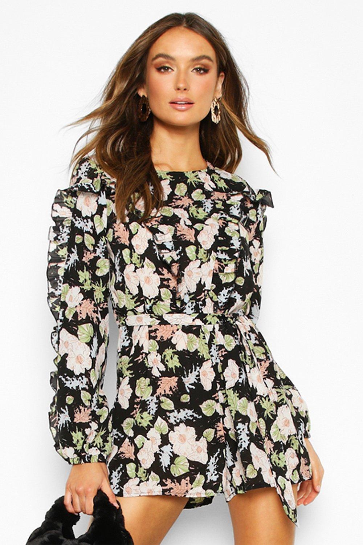 boohoo Womens Floral Ruffle Tie Waist Playsuit - Black - 8, Black