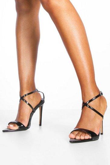 Black Diamante Pointed Toe Strappy Heels