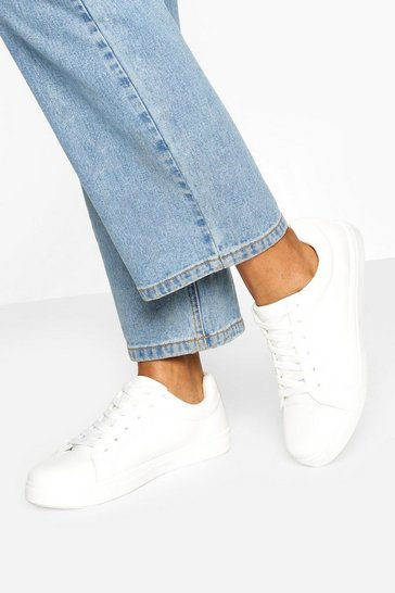 White Wide Fit Basic Lace Up Flat Trainers