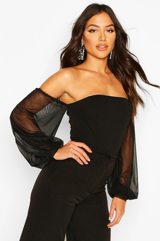 Womens Mesh Puff Sleeve Off The Shoulder Body - black - 34, Black - Boohoo.com